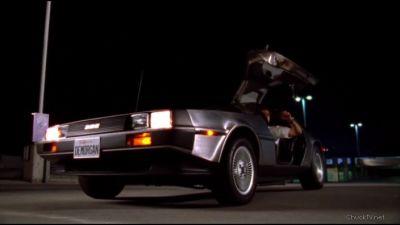 Chuck arriving in a DeLorean