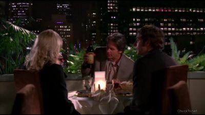 Chuck having dinner with the Burtons