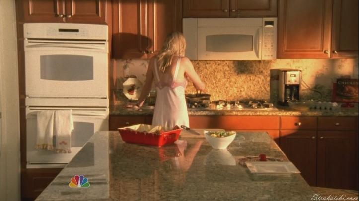 Sarah cooking for Chuck