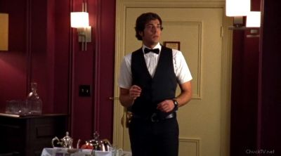 Chuck placing the bug in Ilsa's room