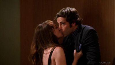 Sasha kissing Chuck in the elevator