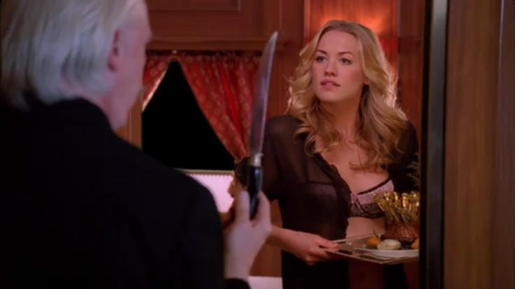 """Waiter: """"Wouldn't you prefer for me to carve?"""" Sarah: """"I'm pretty good with knives."""""""