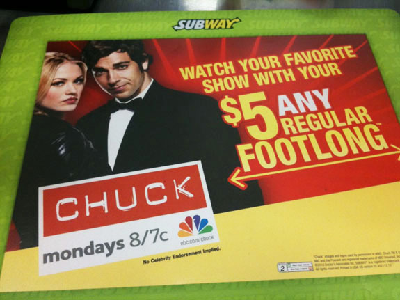 Subway and Chuck Ad