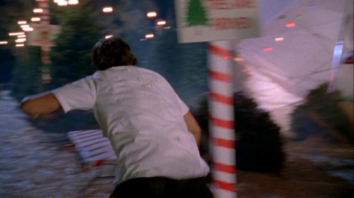 Chuck running into the Christmas Tree Garden