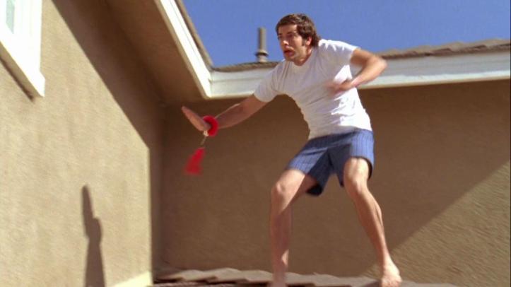 Chuck escaping Sylvia's pad