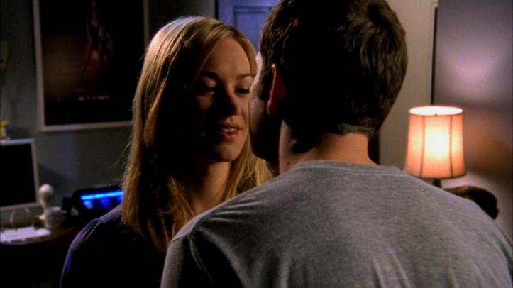 Chuck and Sarah about to engage a kiss