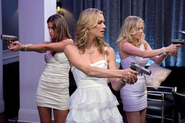 "CHUCK -- ""Chuck vs. the Cat Squad"" -- Pictured: (l-r) Mercedes Mashon as Zondra, Yvonne Strahovski as Sarah Walker, Mircea Monroe as Amy -- Photo Credit: Warner Bros. Television Entertainment/Adam Rose © 2011 WBEI. All rights reserved."